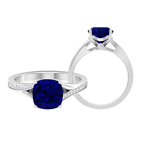 Anillo solitario de corte cojín, piedra preciosa de 2,74 quilates, moissanita D-VSSI 8,50 mm zafiro azul creado en laboratorio, anillo de boda catedral, 18K Oro blanco, Size:EU 63