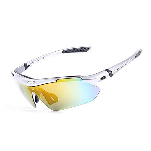 SSDAOO Fahrradbrille Im Freien Polarisierte Radbrillen Myopische Männer Und Frauen Sonnenbrille Mountainbike Winddichte Gläser,Silber