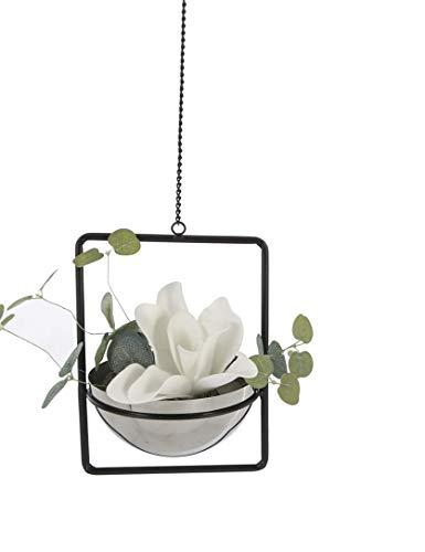 Casablanca Hängeampel Pflanzschale mit Rahmen Metall Edelstahl Blumentopf Vase Deko 22x16 cm