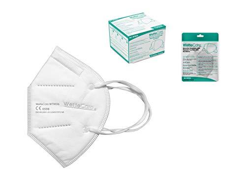 Maske FPP2 / KN95 WottoCare, persönliche Schutzmaske 5 Schichten. Maske mit hoher Filtrationseffizienz, Box 20 Einheiten CE 0598 Zertifiziert