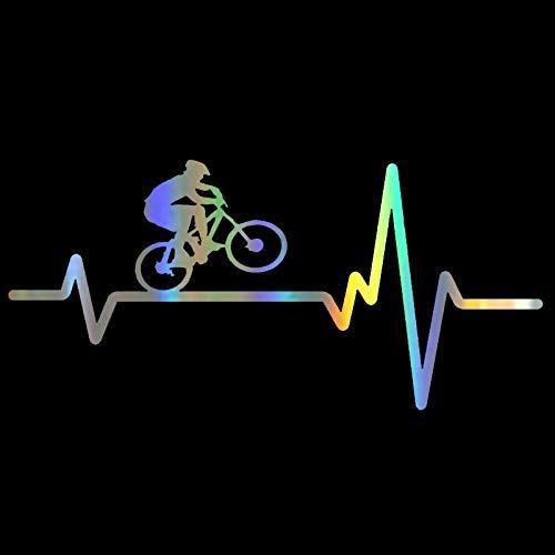 Pegatina de vinilo para coche, casco de bicicleta y corazón, adhesivo reflectante en coches divertidos, pegatinas 3D, calcomanías de estilo de coche, 16,9 cm x 7 (Colore : 1)