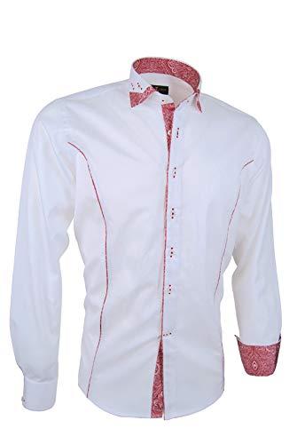 Giorgio Capone Premium Herrenhemd, weiß rotem Paisley-Kontrast, 100% Baumwolle, Slim/Normal & Regular-Plus Fit (XL Slim/Normal)