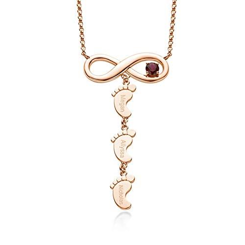 Collar familiar personalizado con colgante de infinito y pie Collar con nombre grabado y piedra natal Collar para mujer(Oro rosa 16)