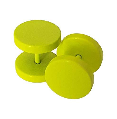 Outletissimo par de pendientes de acero titanio para hombre y mujer, falso dilatador Fake Plug, 10 mm, color amarillo fluorescente