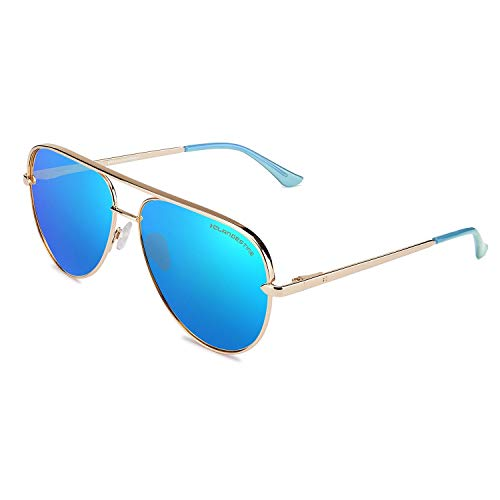 CLANDESTINE Panorama Gold Light Blue by HYPE - Gafas de Sol Nylon HD Hombre & Mujer