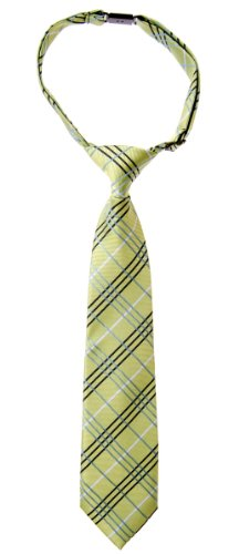 Retreez Tartan Plaid Styles Woven Microfiber Pre-tied Boy's Tie - Green - 4-7 years