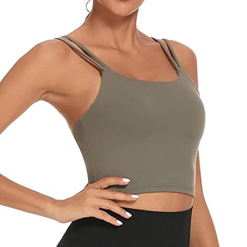 Litthing Sujetador Deportivo Mujer Sin Anillo De Acero Transpirable Confort Elasticidad para GimnasioTrotar Ejercicio Yoga Bailar Corriendo Fitness (Verde, M)