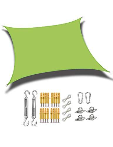 gfdfrg Toldo Exterior Vela de Sombra Rectangular,protección 90% Rayos UV Impermeable Toldo de Vela con Kit de Fijación para Patio al Aire Libre, Jardín,Verde