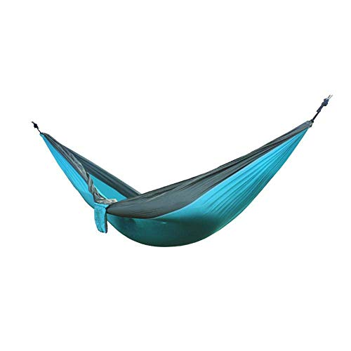 ZXL Hangmat Draagbare Hangmat Dubbele Persoon Camping Survival Swing Hangende Tuin Hangende Slaapstoel Reizen Meubilair Parachute Hangmatten Hemelsblauw met grijs