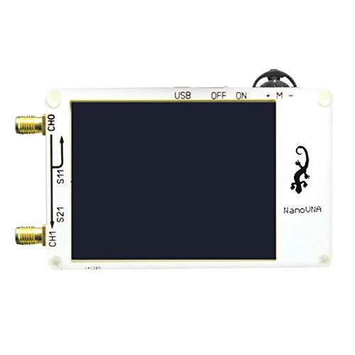 NanoVNA - Analizador de red (50 KHz-900 MHz, pantalla LCD táctil de 2,8 pulgadas, HF, VHF, UHF, antena UHF, instrumento de medición de ondas, cable Ethernet blanco)