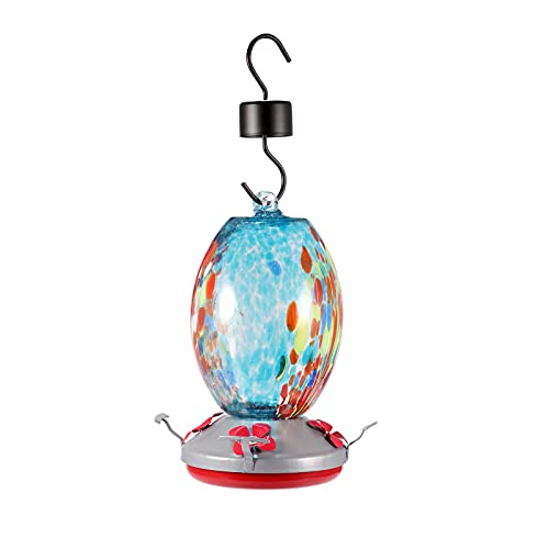 RichesY Hummingbird Feeder Decorative Hummingbird Water Bowl Hanging Glass Vase Feeder Hand Blown Glass Bright Color with 4 Feeding Stations Ant Guard Hook for Garden Patio Courtyard
