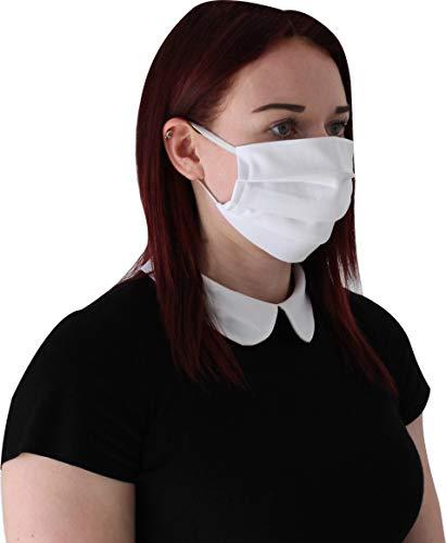 Kranholdt Behelfsmundschutz Mund- und Nasen-Maske aus Baumwolle genäht Made in EU Farbe: Weiss
