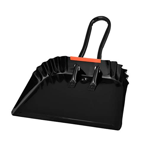 Alpine Industries Heavy-Duty Black Metal Dustpan - Stainless Steel Wide Scooper - Handheld Space Saving Dust and Debris Cleaning Tool Ideal for Home and Commercial Use (12 Inch)
