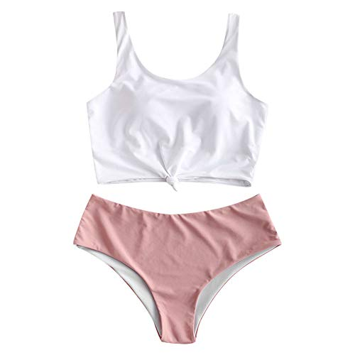 ZAFUL Women's Animal Print Knotted Tankini Set High Waisted Scoop Collar Padded Tankini Swimsuit (Large, Light Pink)