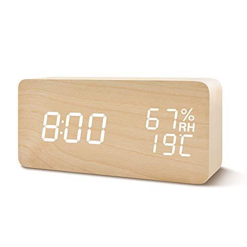 FiBiSonic LED Digitaler Wecker Tischuhr Holz mit Batterien und USB in Vier Farben, Multifunktionaler Wecker mit DREI Alarme, Sprachsteuerung, Datum, Temperatur und Luftfeuchtigkeit,Holz
