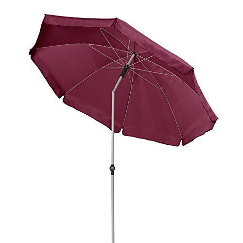 Doppler GS Active ca. 200/8tlg. - Sonnenschirm für Balkon oder Garten - Regenabweisend - Knickbar - ca. 200 cm - Bordeaux