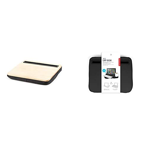 Kikkerland iBed Lap Desk, Tablet, For On A Bed, In A Plane, While You Eat,, Wood US039W & US039-BK iPad iBed - Black