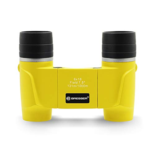 Bresser 6X18 Binoculars for Kids, High Resolution Shockproof Compact Kids Binocular for Birds Watching, Hunting, Hiking, Travel, Outdoor Exploring