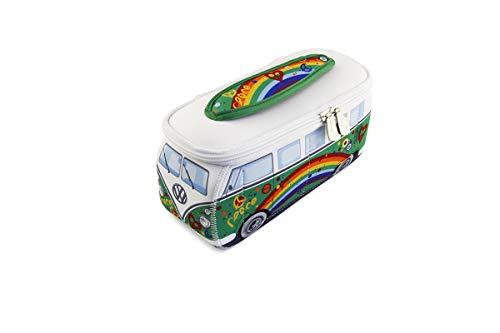 BRISA VW Collection - Volkswagen Combi Bus T1 Camper Van 3D Trousse de Maquillage en Néoprène, Sac à cosmétiques, Nécessaire de Toilette/Culture, Étui, Porte-Crayon,Pochette Universel (Peace/Vert)
