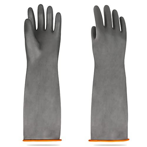 Handschuhe Säurefest Lang-Chemikalien Schutz Handschuhe-Säure-und Alkalibeständigkeit handschuhe Chemie Handschuhe, Handschuhe Schwarz 1 Paar 45cm