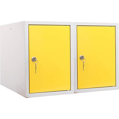 newpo Mega Deal | 2x Schließfachwürfel | HxBxT 35 x 25 x 45 cm | Gelb - Garderobe Schließfach Schließfachschrank Schließwürfel