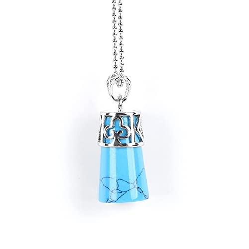 Collares Mujer Bisuteria,Collares De Piedra Para Mujer, Collar De Piedras Preciosas Azul Turquesa Colgante Cilíndrico De Piedras Preciosas Con Cadena De Cuentas Redondas De Plata Para Hombres, Muje