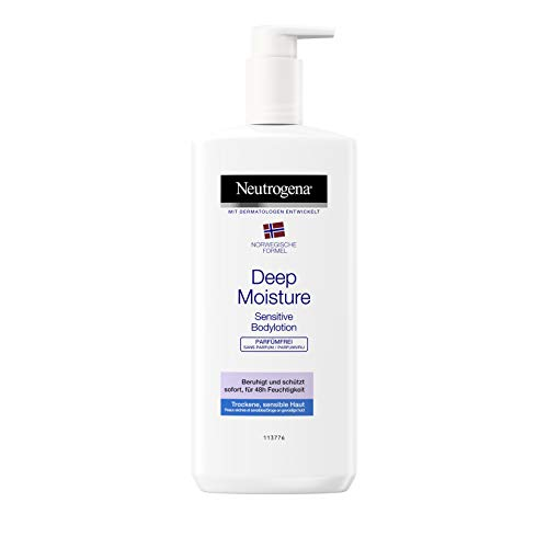 Neutrogena Norwegische Formel Bodylotion, Deep Moisture Sensitive, für sensible trockene Haut, 3 x 400ml