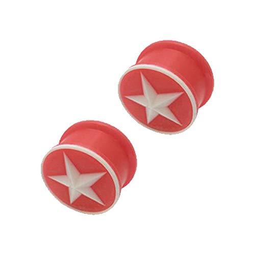 Joyería del cuerpo - silicona rojo estrella tapones de 15 mm