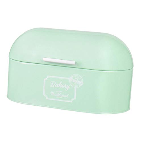 joyMerit Retro Bread Box for Kitchen Counter, Stainless Steel Bread Bin Storage Container for Loaves, Pastries and More, 13 x 6 x 5 inch, Mint Green