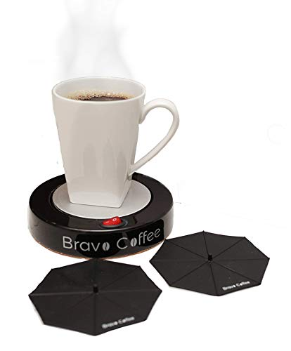 "Bravo Line Hottest Coffee Mug Warmer with Automatic Shutoff - Best Electric Personal Beverage Warmer for Desk - Extra Large - 3.87"" with 2 FREE Drink Covers - Perfect Drink Warmer for All Cups & Mugs"