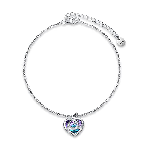 TOUPOP Anklets for Women Sterling Silver Moon Star Ankle Bracelet with Purple Heart Crystal Sea Beach Fashion Jewelry Gifts for Women Teen Girls Friend Birthday Christmas