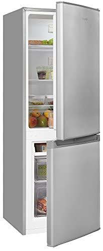 Exquisit Frigorífico y congelador KGC232-60-E-040E, plateado, dispositivo de pie, 173 l de capacidad, color plateado