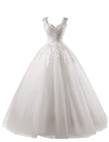 HUINI Brautkleid Lang Prinzessin Tüll Hochzeitskleid Standesamt Vintage Brautmode A-Linie Ballkleid mit Perlen Elfenbein 42