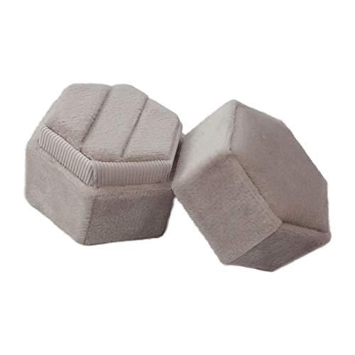 ZJL220 Caja de terciopelo hexagonal con anillo – Magnífico soporte de exhibición de doble anillo vintage con tapa desmontable para propuesta, compromiso, boda, ceremonia, 12