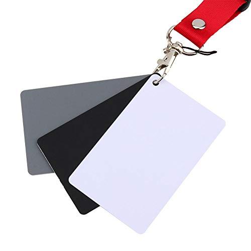 Serounder 3 en 1 18% de exposición Digital de fotografías Juego de Tarjetas de Equilibrio de Color Gris/Blanco/Negro para fotografía...