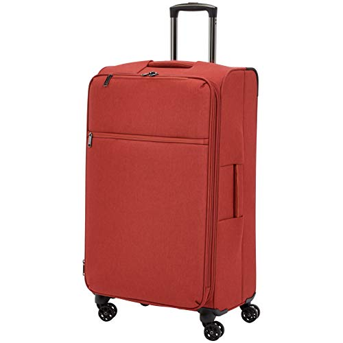 Amazon Basics – Maleta con ruedas flexible acolchada Belltown, 78 cm, Rojo