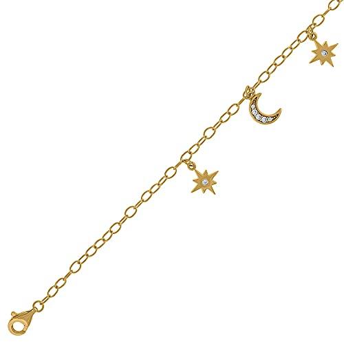 Pulsera de plata de ley 925 con circonita cúbica para mujer, diseño de luna celestial, regalo para mujer
