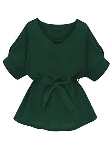 Milumia Women's Casual V Neckline Self Tie Short Sleeve Work Blouse Tunic Tops Dark Green X-Large