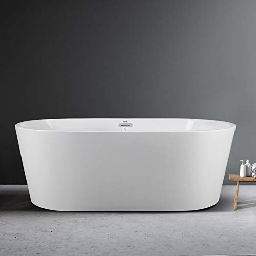 FerdY 67' x 31' Classic Oval Shape Freestanding Soaking Acrylic Bathtub, Modern White, cUPC Certified, Drain & Overflow Assembly Included