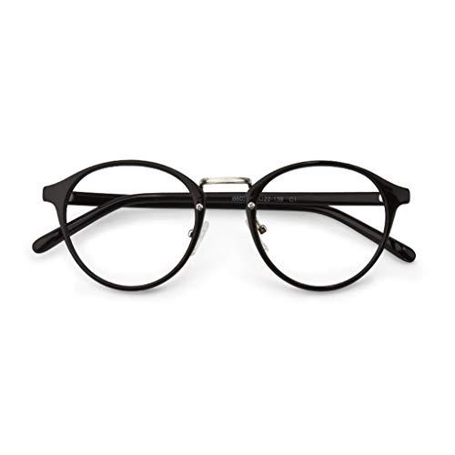 Verakee Leesbril, retro glazen frame, mannenbril, ronde gezicht leesbril, verkrijgbaar in twee soorten (kleur: zwart, maat: 3,5 x)