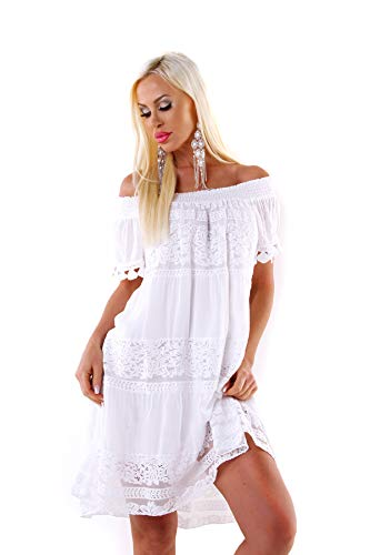 Wholefashion Zuckersüßes mittellanges Carmen Kleid mit Ibiza Spitze in Weiss