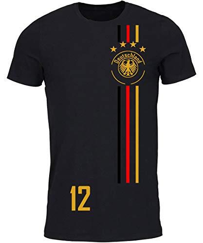 myfashionist T-Shirt Fußball Trikot WM/EM Deutschland Trikot mit Streifen in Verschiedene Grössen für Jungen Mädchen und Erwachsene mit Wunschname UND Wunschnummer (Schwarz D12, M)