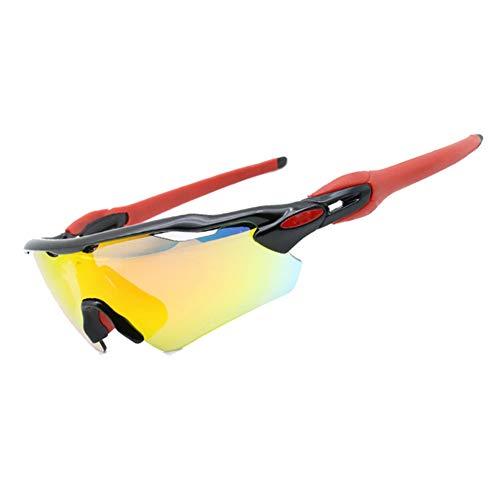LAIABOR Fahrradbrille Sonnenbrille Polarisierte Sportbrille Für Damen und Herren Autofahren Laufen Radfahren Angeln,Blackframe+Redfoot