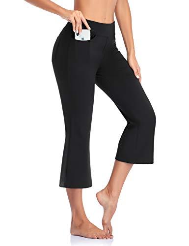 SEVEGO Pantaloni da Yoga Bootcut da Donna con 4 Tasche, 74cm 78cm 84cm 90cm Cucitura Interna, Tall Regolare Pettie Pantaloni da Allenamento Lounge, Capri, Nero, medium-53cm