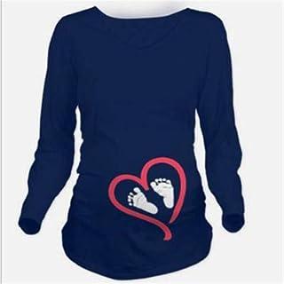 تي شيرتات - ملابس الأمومة جديدة بأكمام طويلة ملابس كاجوال للأمهات الحوامل فستان الأمومة (أكمام طويلة أزرق داكن XXL)