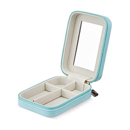 SSHA Joyero Estuche de Almacenamiento con Espejo Gran Regalo para Las Mujeres Pequeñas Joyas de joyería Faux Cuero Organizador de Viajes Pantalla Organizador de Joyas (Color : Blue)