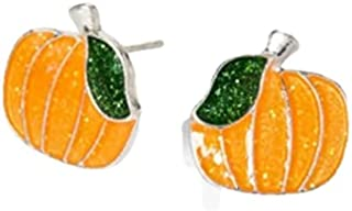 Claire's Glitter Pumpkin Halloween Stud Earrings