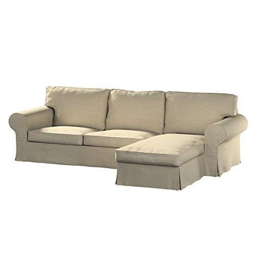 Dekoria Ektorp 2-Sitzer Sofabezug mit Recamiere Sofahusse passend für IKEA Modell Ektorp Creme