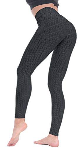 Beelu Damen Gym Leggins Hohe Taille Kompressions Push Up Leggings Fitnesshose mit Bauchkontrolle(Schwarz EU 44-Etikett XL)
