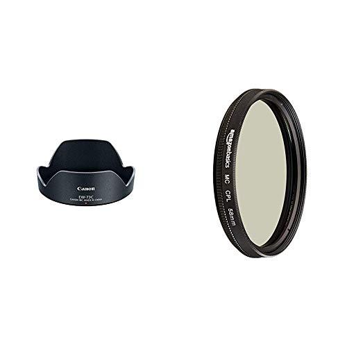 Canon 9529B001 Gegenlichtblende EW-73C & AmazonBasics Zirkularer Polarisationsfilter - 58mm
